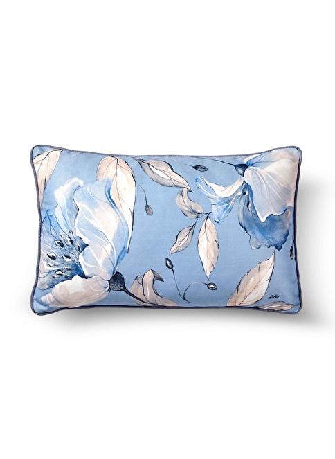 The Mia Flower Yastık - Açık Mavi 50 x 30cm Mavi